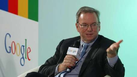 Eric Schmidt, executive chairman of Google, speaks during