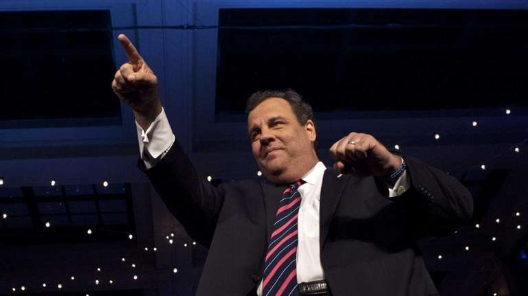 New Jersey Governor Chris Christie arrives to speak