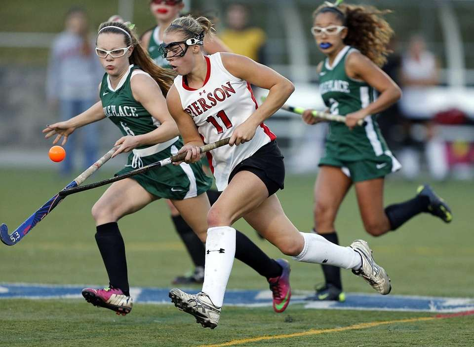 Pierson/Bridgehampton's Kasey Gilbride stick dribbles at midfield in