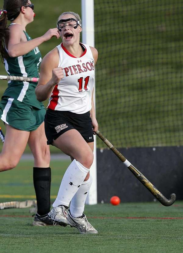 Pierson/Bridgehampton's Kasey Gilbride reacts after scoring a goal