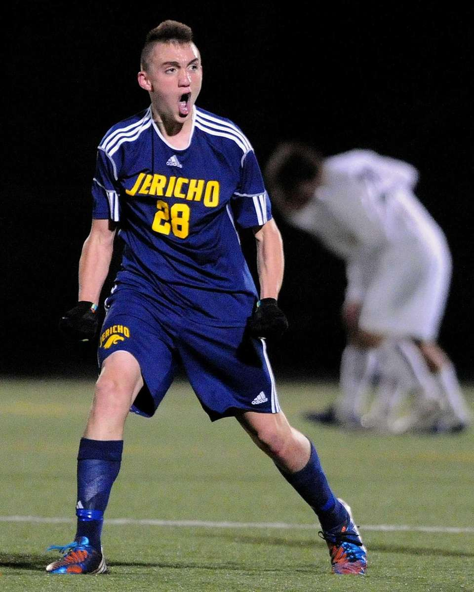 Jericho's David Greenbaum reacts after a Jericho goal