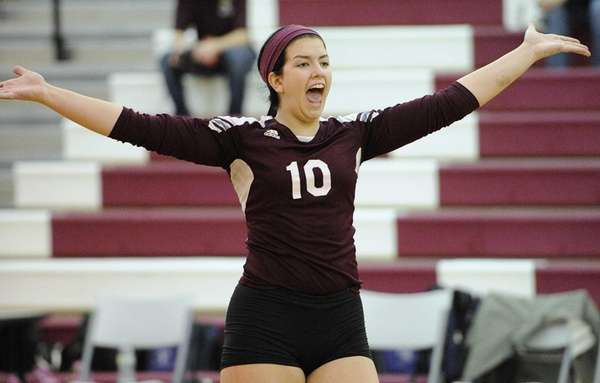 Kings Park's Amanda Gannon reacts after scoring a