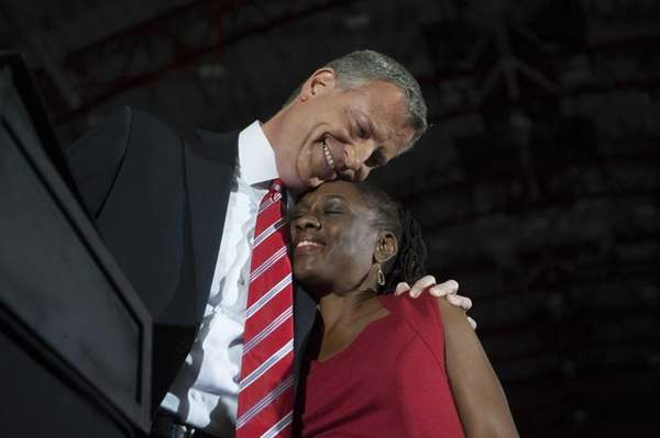 Bill de Blasio and his wife Chirlane McCray