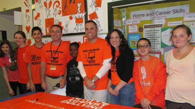 Students, staff and administrators at Merrick Avenue Middle