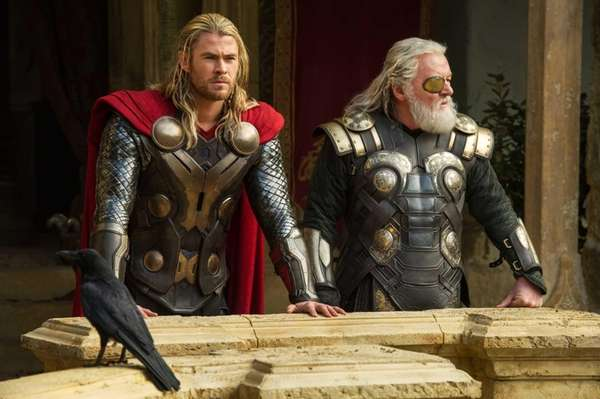 Chris Hemsworth, left, and Anthony Hopkins in a