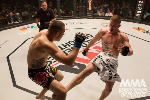 Justin Gaethje, right, stopped Dan Lauzon by TKO