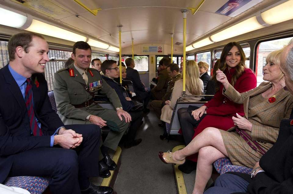 Prince William and Kate ride with television personality