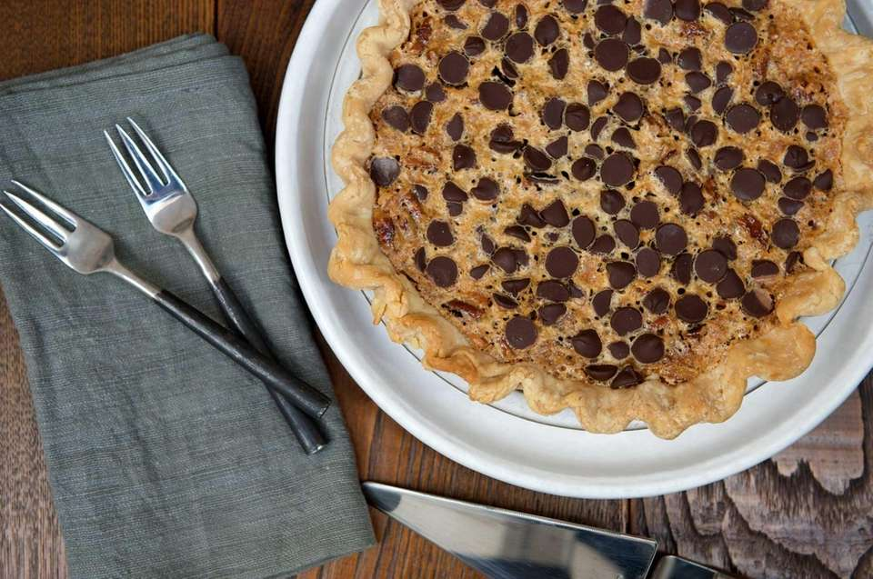 CHOCOLATE COCONUT PECAN PIE: What ups the ante