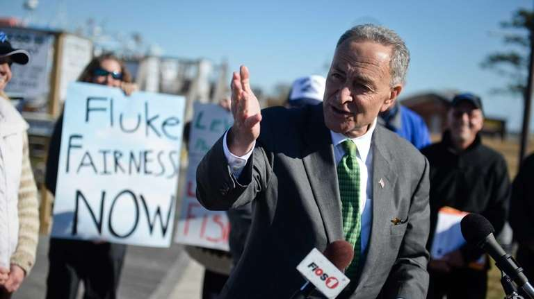 Senator Charles E. Schumer speaks during a news