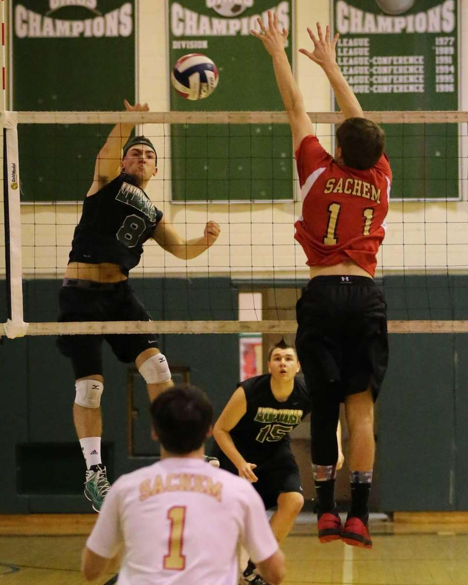 Lindenhurst outside hitter Ryan Mc Donough gets the