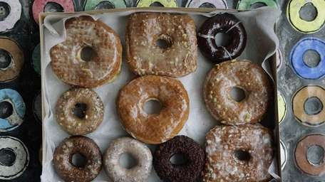 A box with a variety of doughnuts from