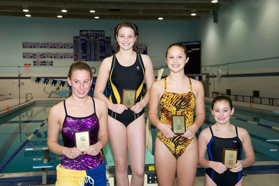 From left, third-place finisher Melissa Neville from Sayville,
