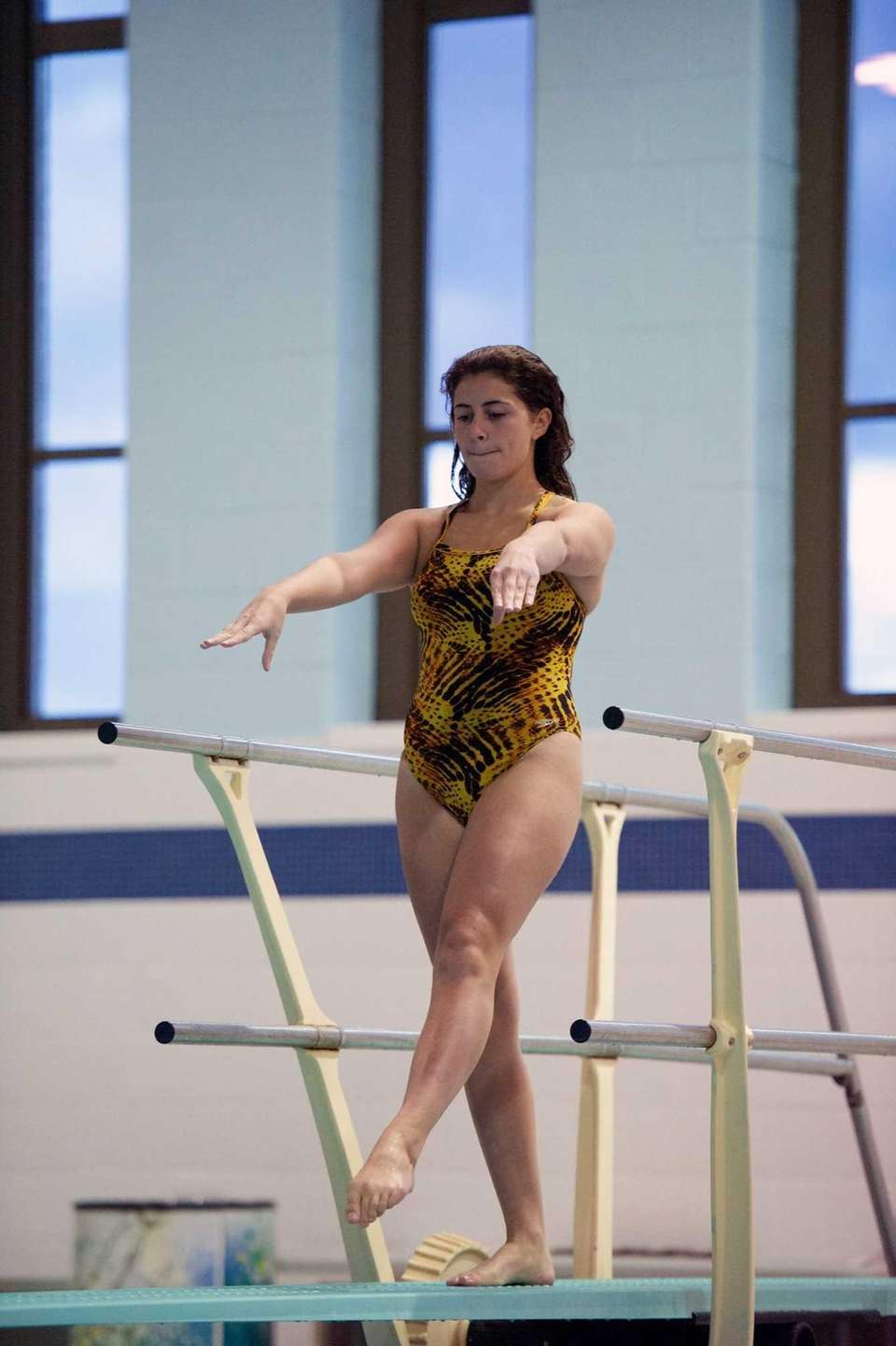 Kailey White competes in the Suffolk County Diving