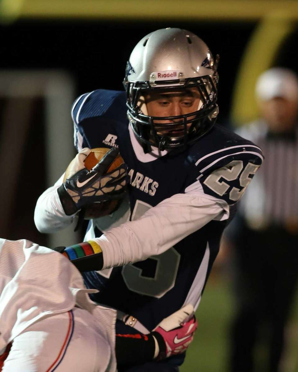Eastport-South Manor running back Jake Hobie gains a