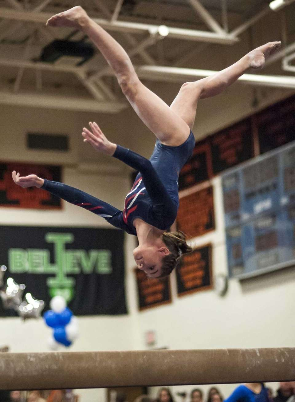 Miller Place's Jordan Ceccarini competes on the balance