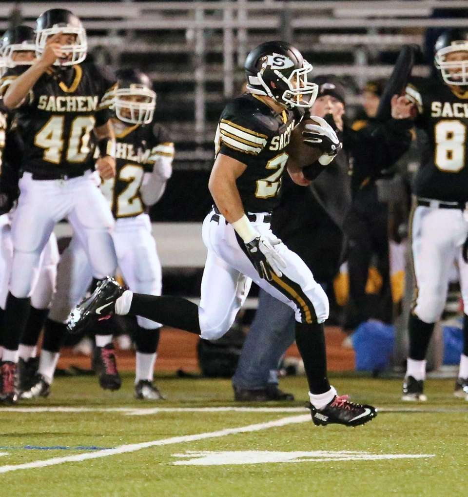 Sachem North's Chris Biryla takes the kickoff for