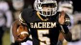 Sachem North's Malik Pierre heads down the sideline