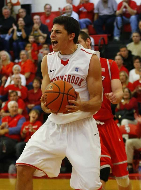 Eric McAlister of the Stony Brook Seawolves celebrates