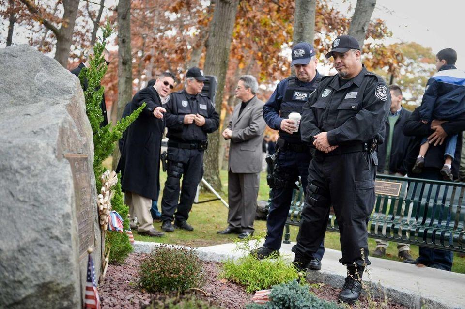 BSO Police Officer David Brown views the memorial