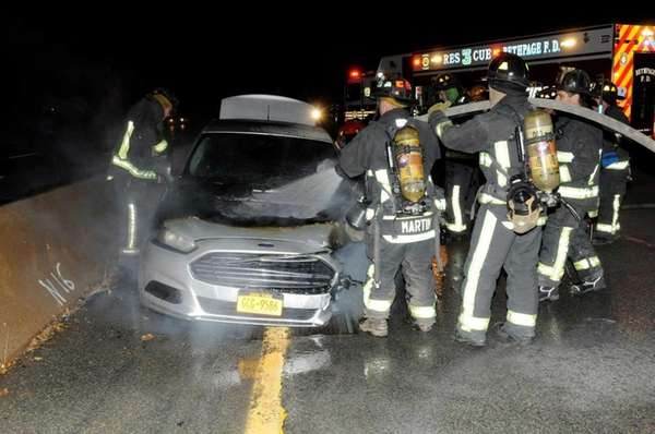 Firefighters respond to a fiery wrong-way crash on