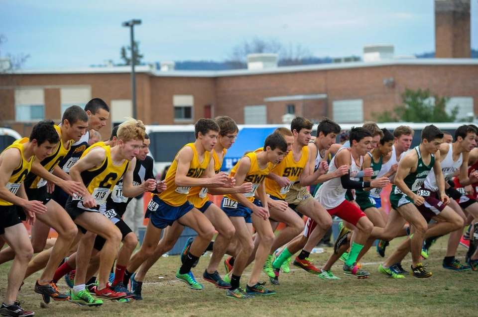 Runner compete during the Class B Cross Country