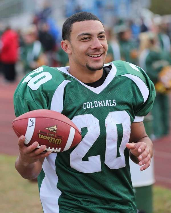 William Floyd running back Chris Faison celebrates his