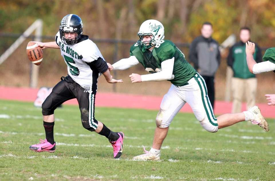 Valley Stream North quarterback Joe Ruscillo tries to