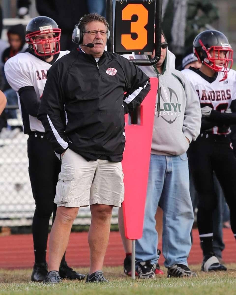 Patchogue-Medford head coach Gary Morangi looks on against
