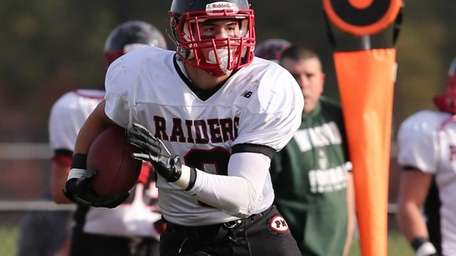 Patchogue-Medford wide receiver Connor Coughlin gains a first