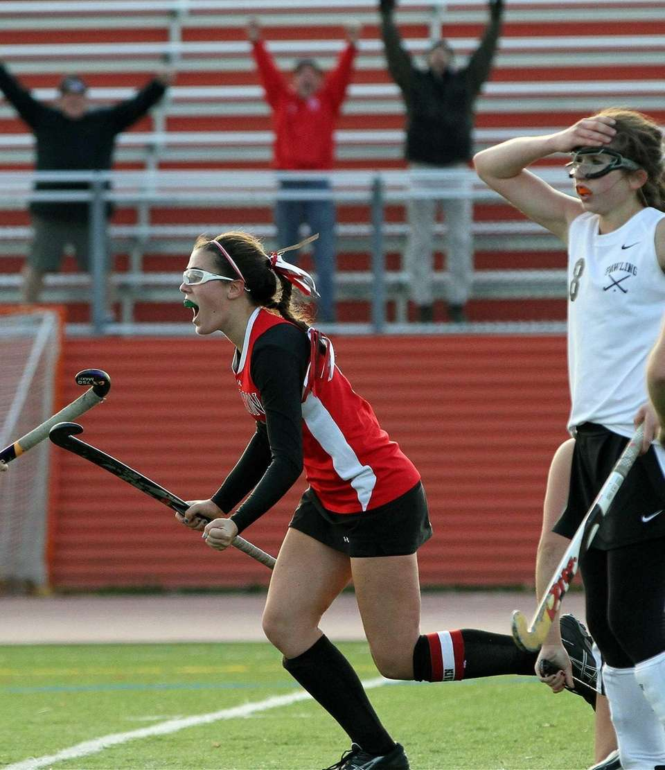 Bridgehampton's Katherine Matthers reacts after scoring the game-winning
