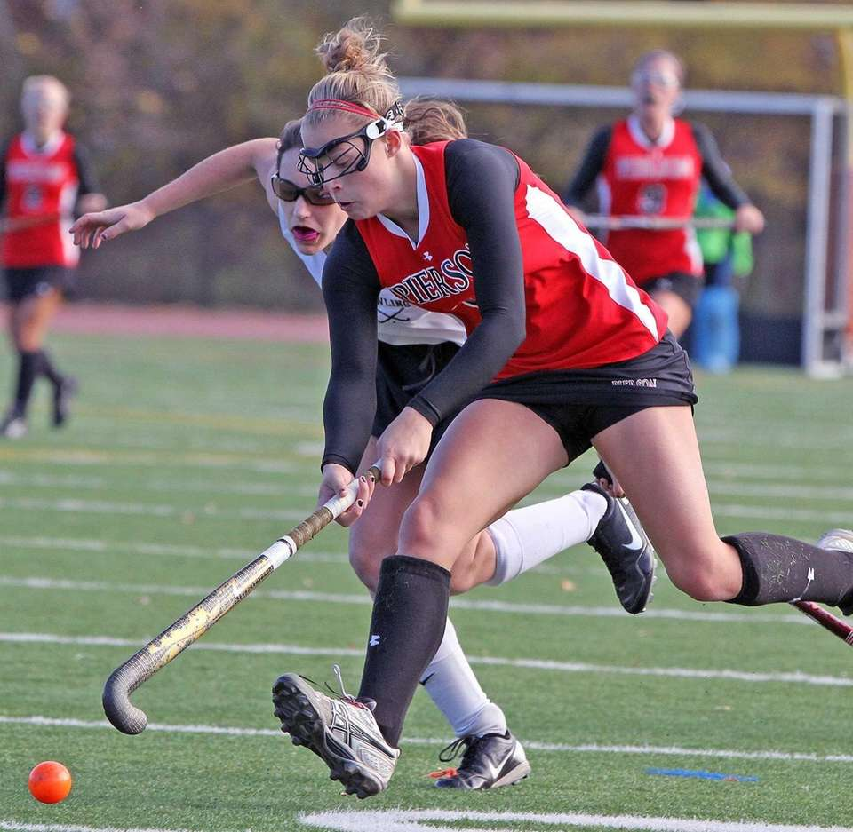 Bridgehampton's Kasey Gilbride moves toward goal against Pawling.