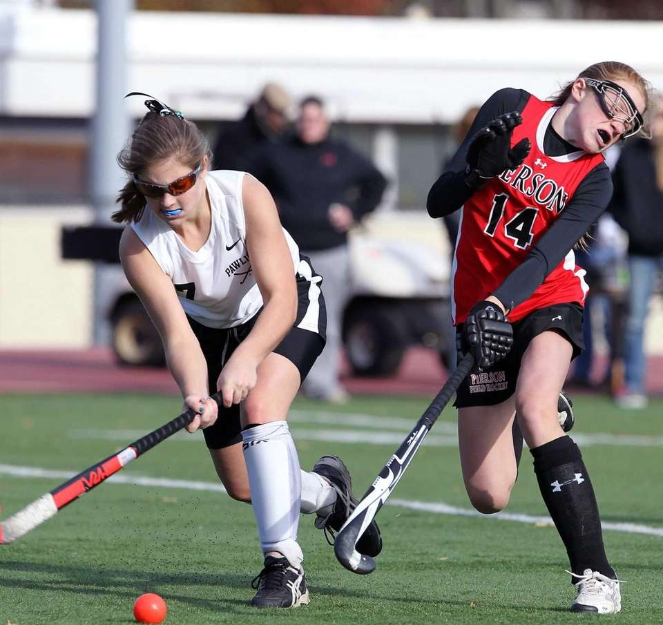 Bridgehampton's Ana Sherwood defends against Pawling. (Nov. 9,