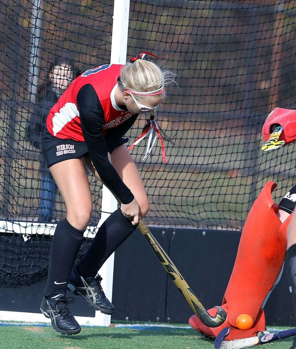 Bridgehampton's Emmeline Luck takes a shot on goal