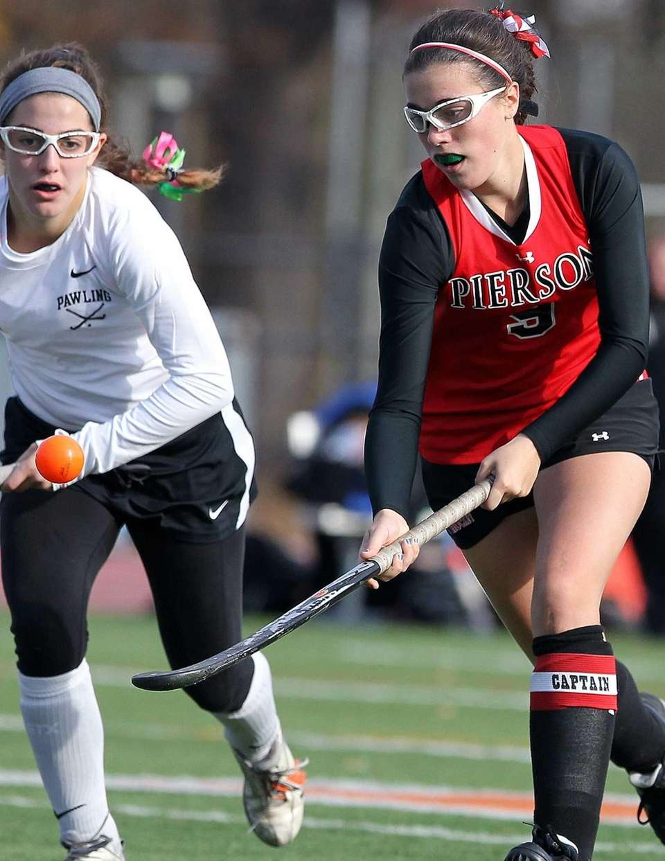 Bridgehampton's Katherine Matthers looks to control the ball