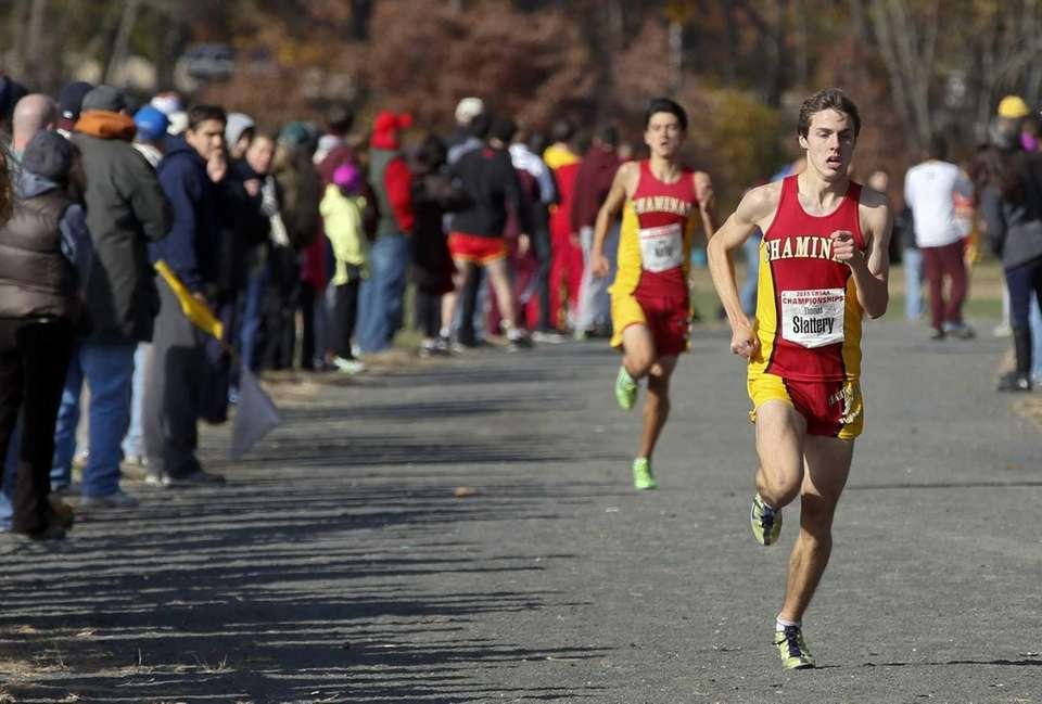 Thomas Slattery of Chaminade High School, right, leads