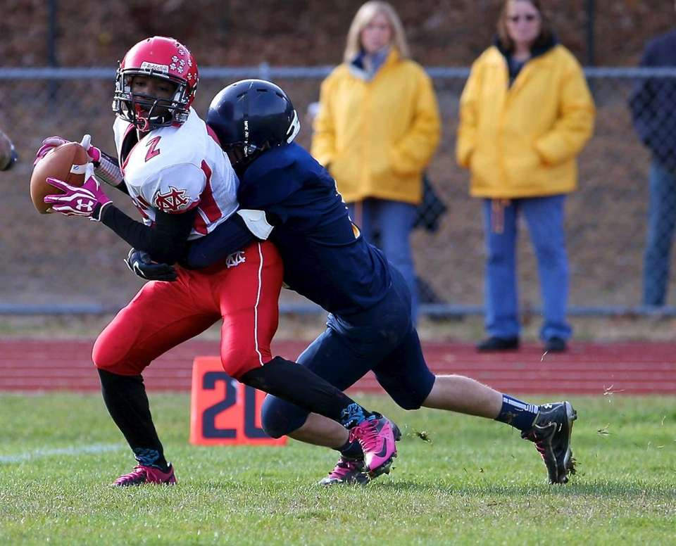 Center Moriches wide receiver Tarik Rountree (no. 2)
