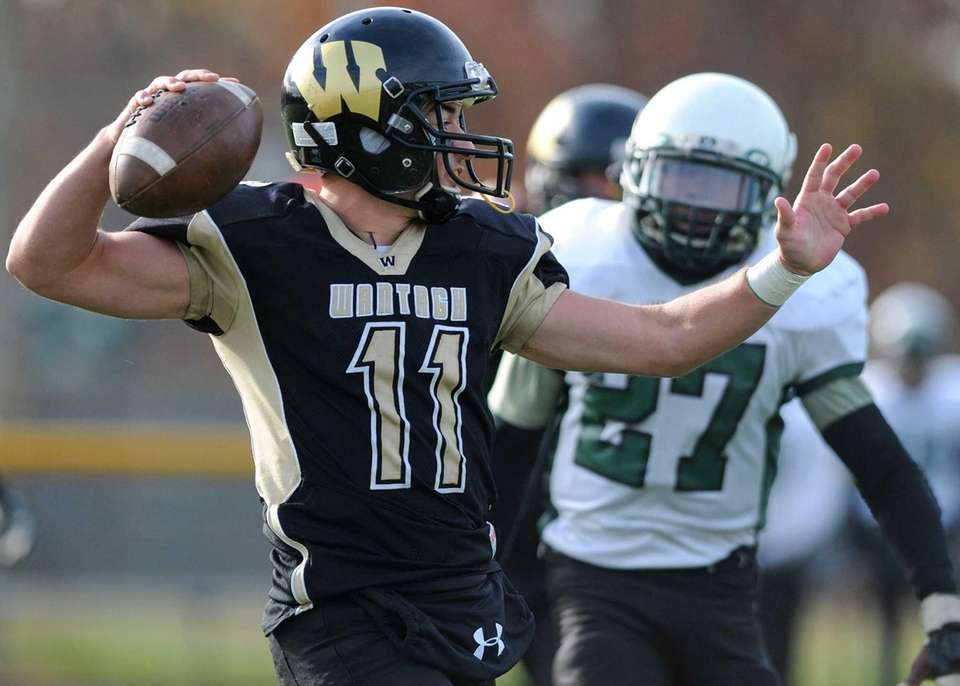 Wantagh quarterback Stephen Killard throws during the first