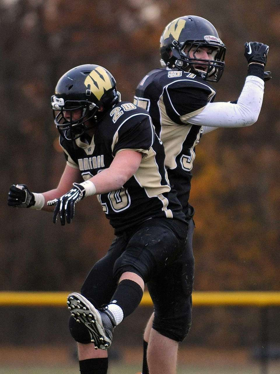 Wantagh wide receiver Ralph Sommer, right, celebrates with