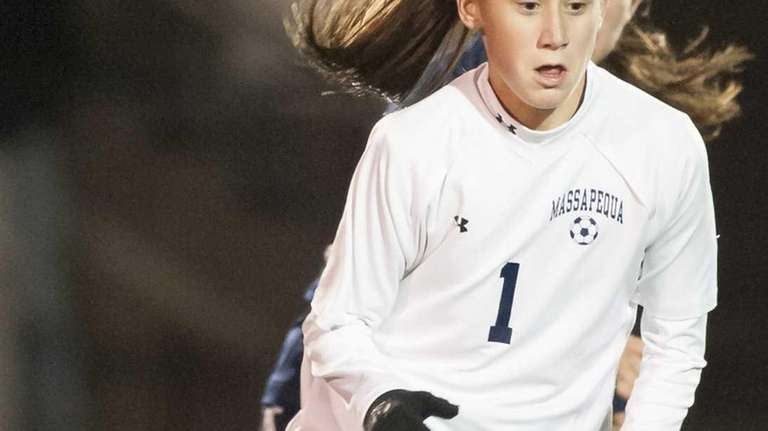 Massapequa's Hope Breslin dribbles the ball during the