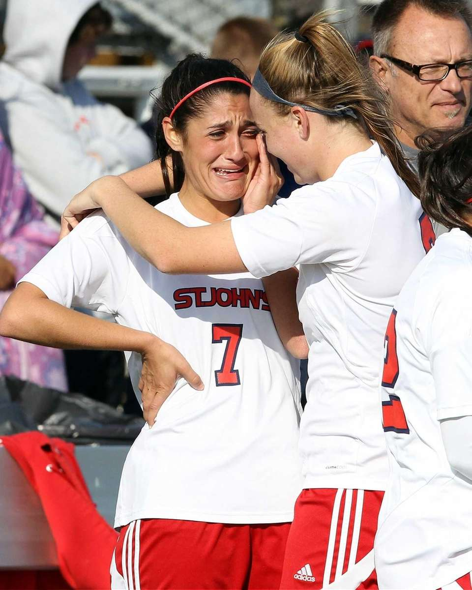 St. John the Baptist's Samantha Bernieri celebrates with