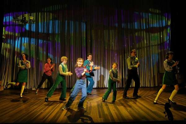 "The cast of ""Fun Home,"" with music by"