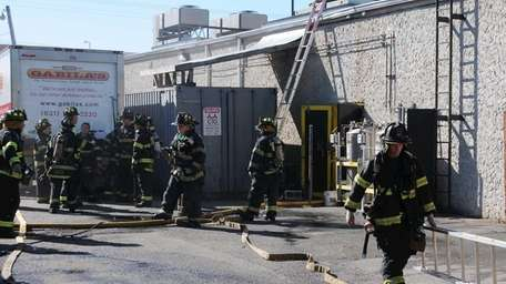 The Copiague Fire Department, assisted by the Lindenhurst