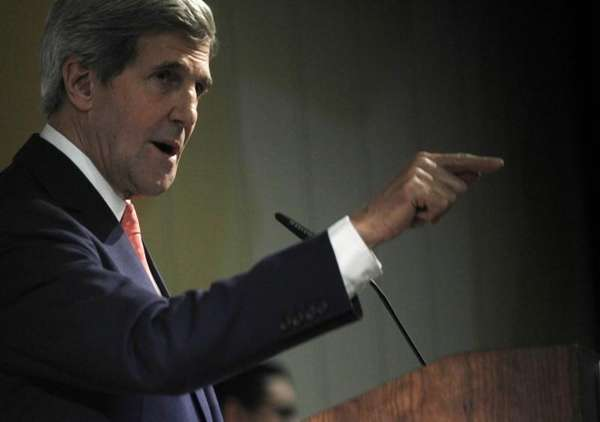 U.S. Secretary of State John Kerry gestures while