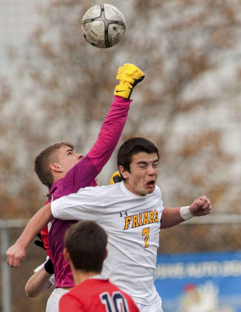 St. Francis Prep goalKeeper Chris Kilcarr punches the