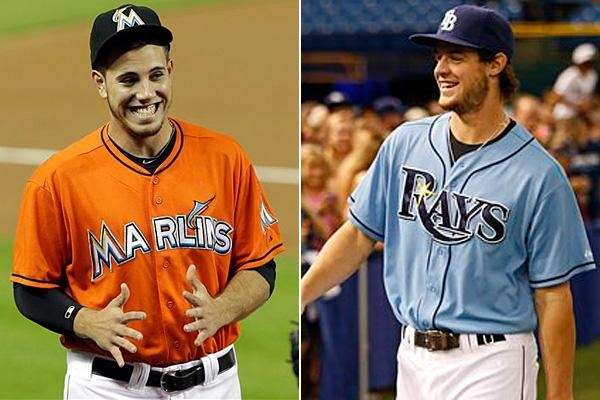 Marlins pitcher Jose Fernandez, left, and Rays rightfielder