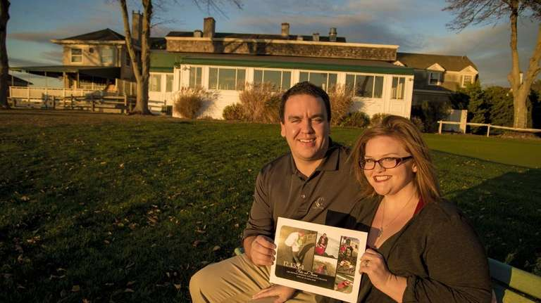 Kate and her fiance Thomas, in front of