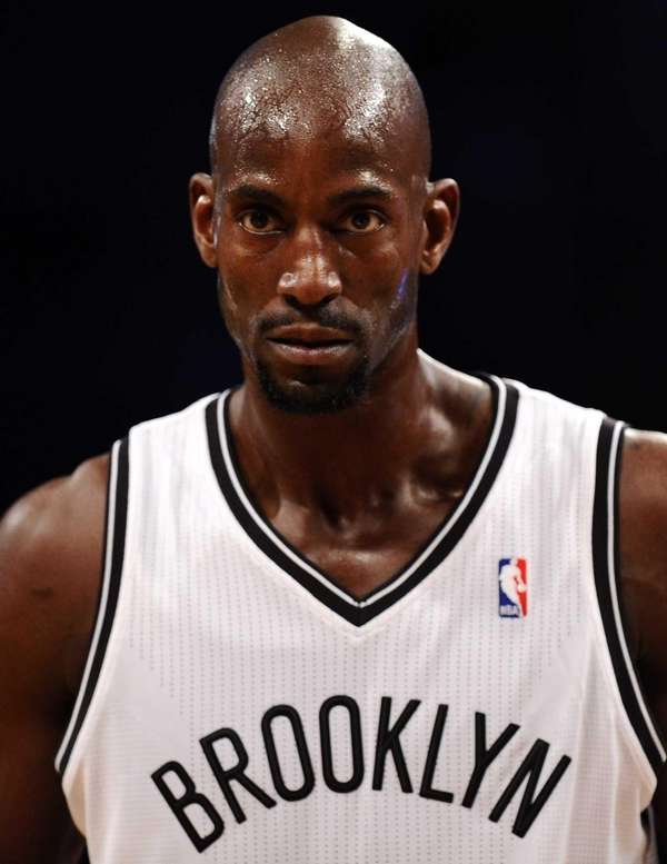 Kevin Garnett looks on during the second quarter