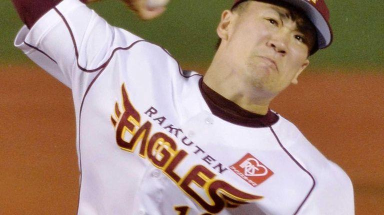 Rakuten Eagles pitcher Masahiro Tanaka pitches against the