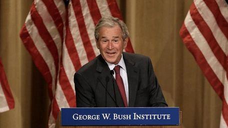 Former President George W. Bush speaks during an