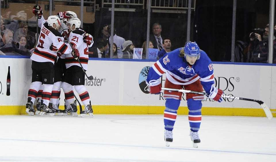 The New Jersey Devils' celebrate a goal by